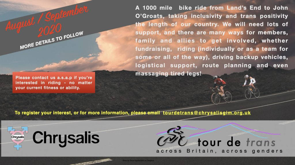 Tour de Trans flyer email tourdetrans@chrysalisgim.org.uk for more information