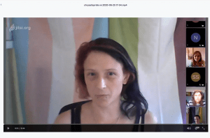 Andi with genderqueer and trans flags behind them, images of others to right, Jitsi screen shot