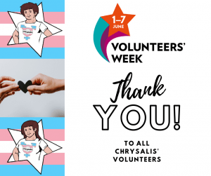 Volunteer hero stars with Volunteer Week banner and text thanking all Chrysalis volunteers for #volunteersweek