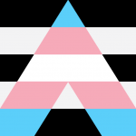 Trans ally flag - Trans flag in A shape over black and white horizontal stripes
