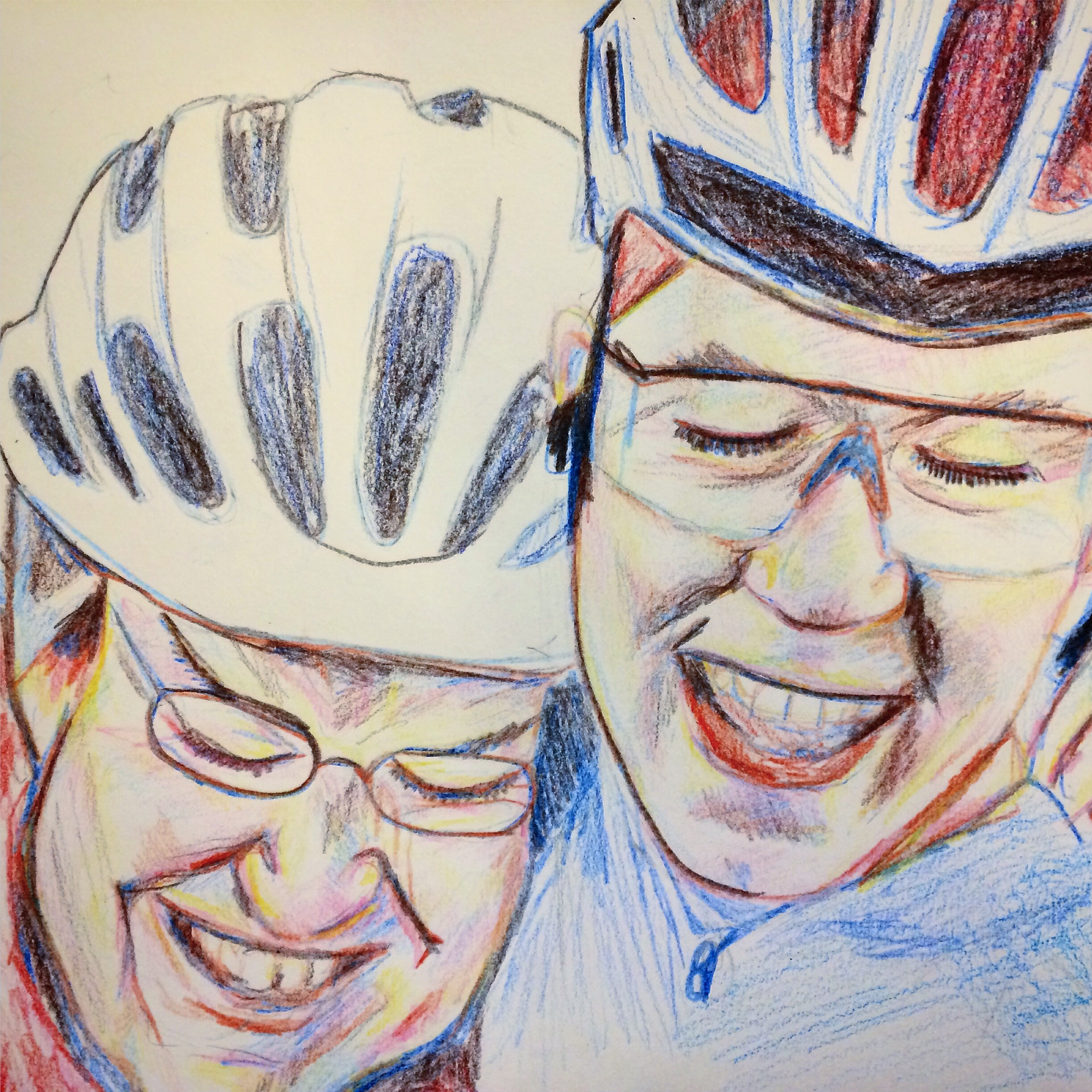Line drawing of two smiling faces with bicycle helmets on
