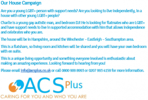 Text advert for LGBT+ people and staff for supported living in Winchester