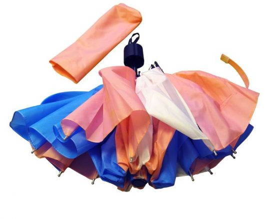 Folded umbrella in trans flag colours (pink, white and blue) partially unfurled with pink case above, on white background