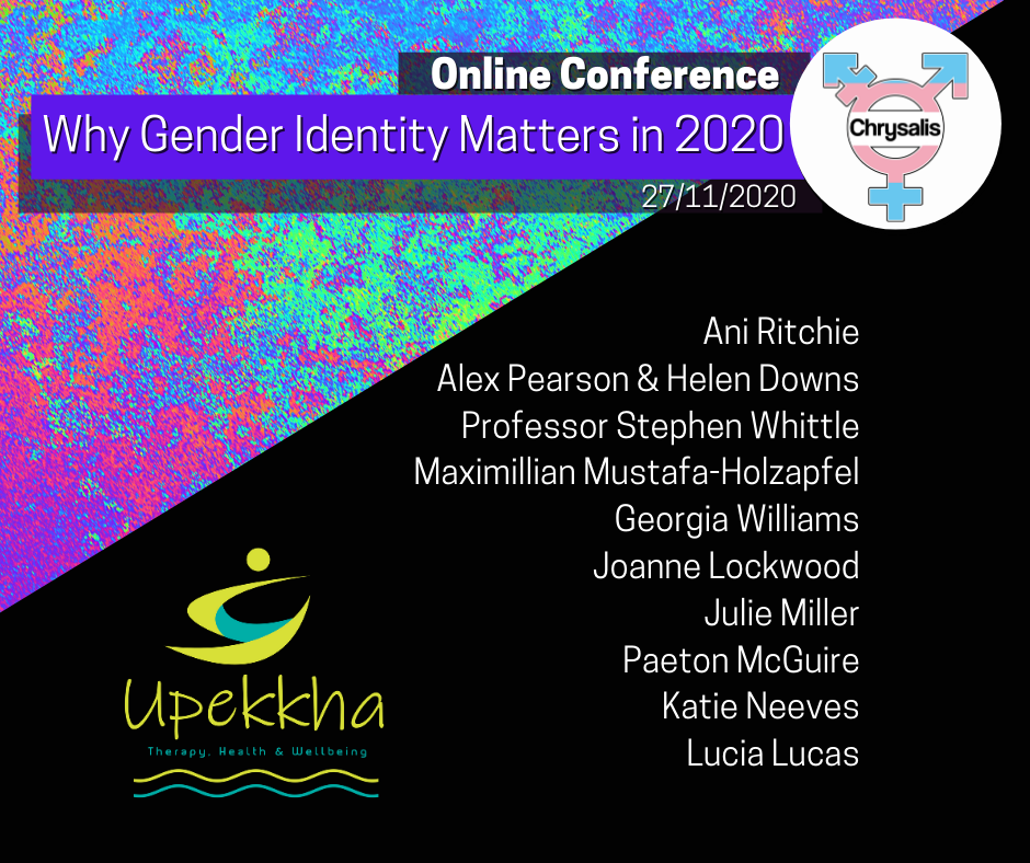 Chrysalis 2020 conference line up Ani Ritchie, Alex Pearson, Helen Downs, Prof. Stephen Whittle, Maximillian Mustafa-Holzapfel, Georgia Williams, Joanee Lockwood, Julie Miller, Paeton McGuire, Katie Neeves, Lucia Lucas