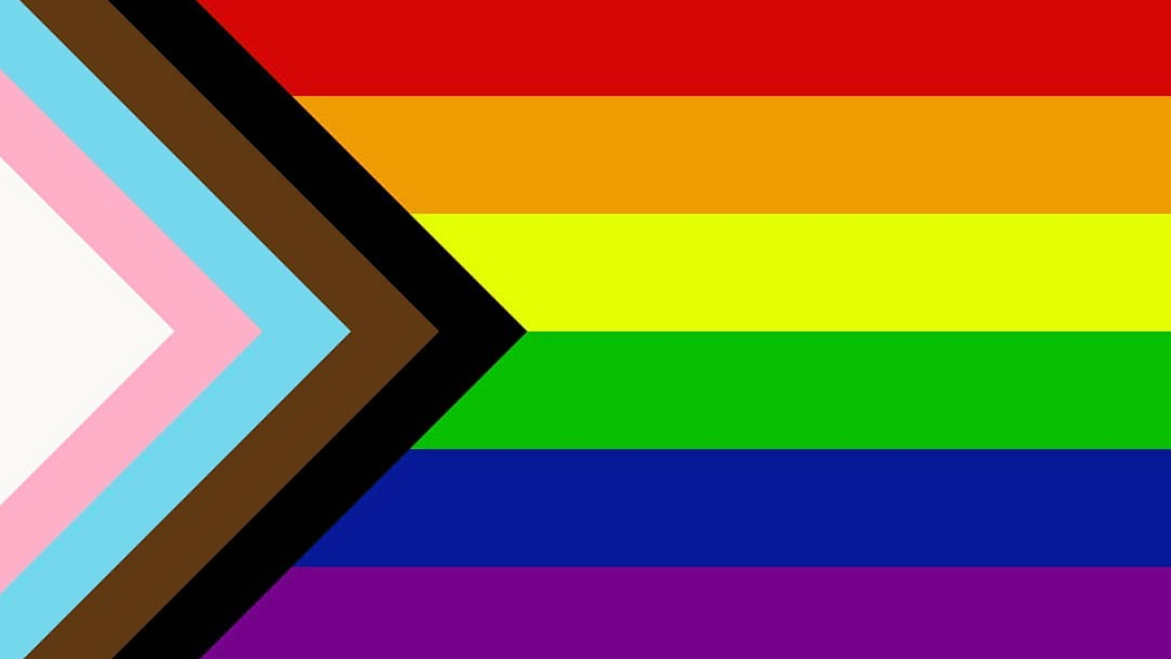 The Progress Pride flag on it and loops of elastic to go around ears. Progress Pride flag has chevrons in from left side: white, pink, blue, brown, black overlaid on horizontal stripes from top to bottom: red, orange, yellow, green, blue, purple