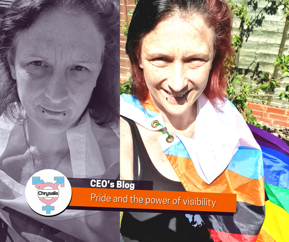 """Two photos of Andi wrapped in a progress pride flag, side by side. One photo is greyscale the other is in colour. Banner reads """"CEO's Blog: Pride and the power of visibility"""