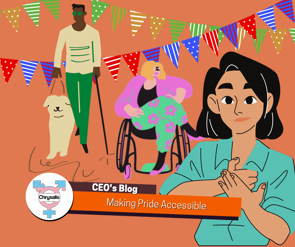 """Banner reads: """"CEO's Blog. Making Pride Accessible"""" Image is an orange background with streams of bunting. A man with a cane and service dog stood next to a lady in a wheelchair. In front of them is a person doing sign language."""