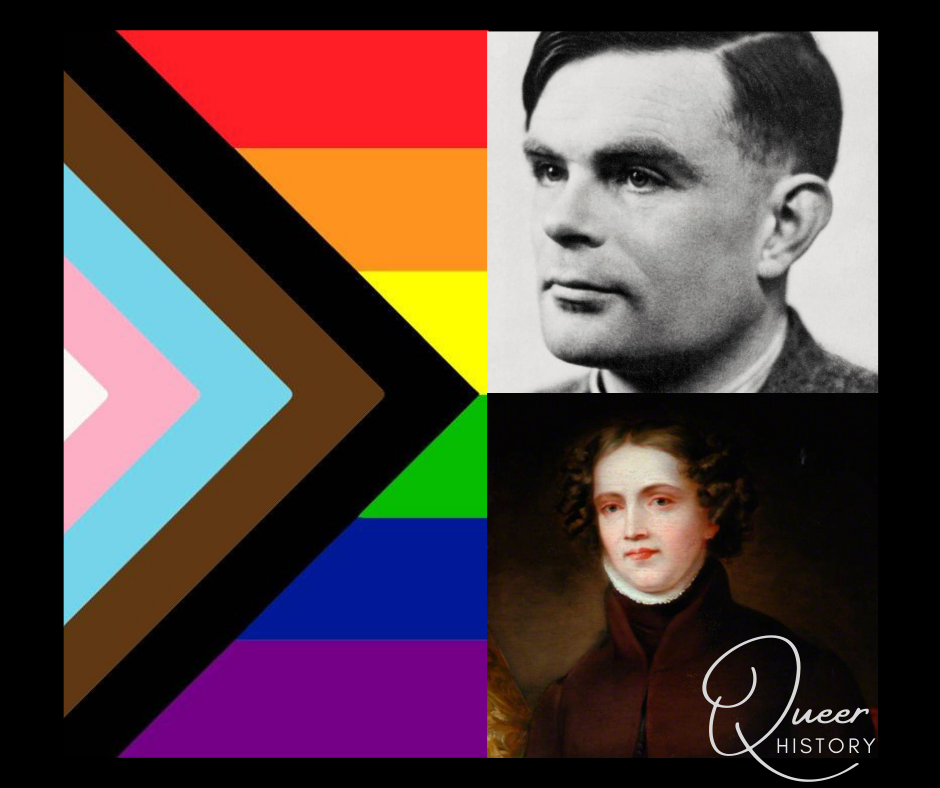 left: progress pride flag. Right top Alan Turning. Right Bottom Anne Lister. Test; Queer History.