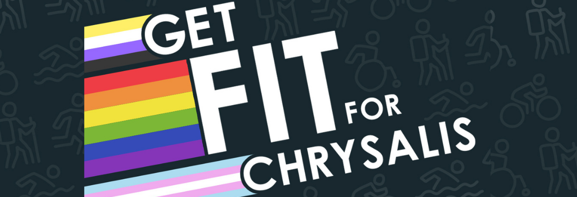 Website Banner Get fit for Chrysalis featuring trans pride flag non binary flag, rainbow pride flag