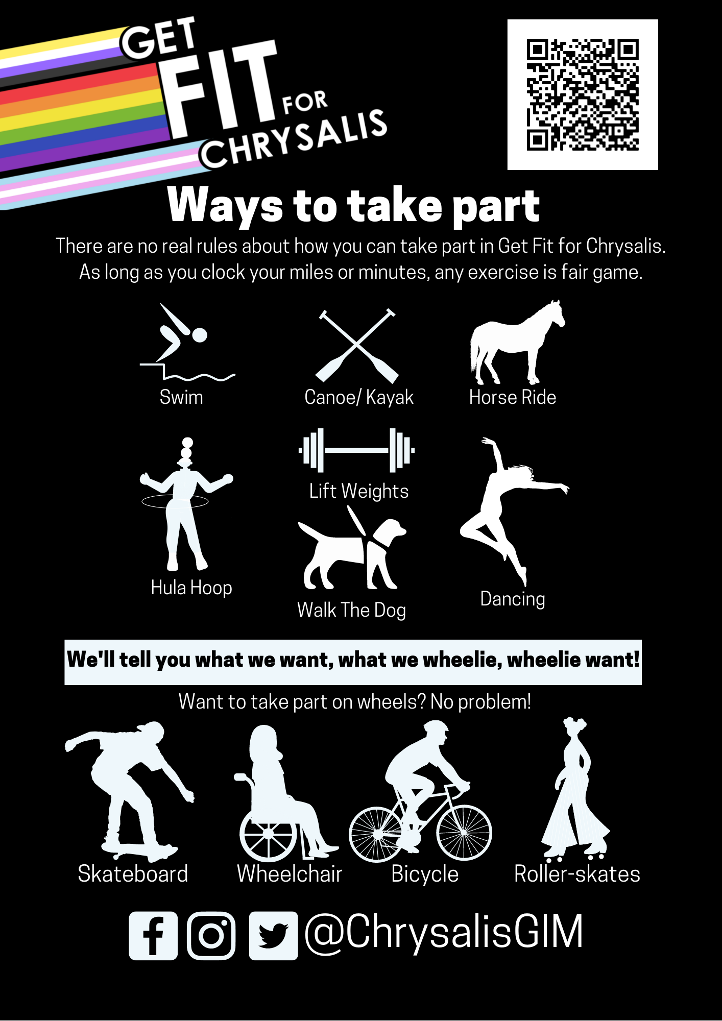 Get Fit for Chrysalis poster. White symbols of different forms of exercise on a black background. Contact us to find out more.