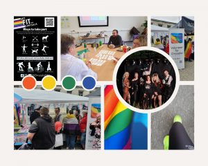 Montage of photos showing Chrysalis' activities over the summer. Clockwise from top left: Get Fit for Chrysalis poster, black background with white text showing different activities; people sat around a table with single words of different values being sorted into preference; the Chrysalis stand at Southampton Pride with pop-up banner inviting people to volunteer; drag performers and Andi on a small stage with dark background; feet in bright green trainers on legs in fitness clothing; inclusive Pride flag in loose folds; landscape view of Chrysalis stand at Soton Pride, lots of people interested and talking to volunteers