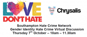 Love Don't Hate presentation by Chrysalis open to all on Thursday 7th October 10am to 11:30am